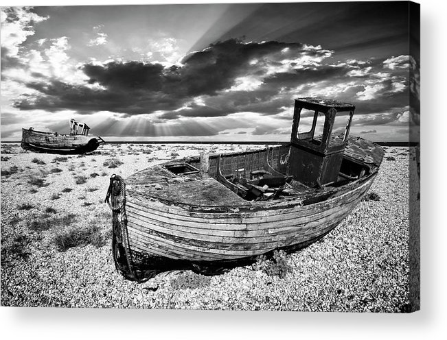 Boat Acrylic Print featuring the photograph Fishing Boat Graveyard by Meirion Matthias