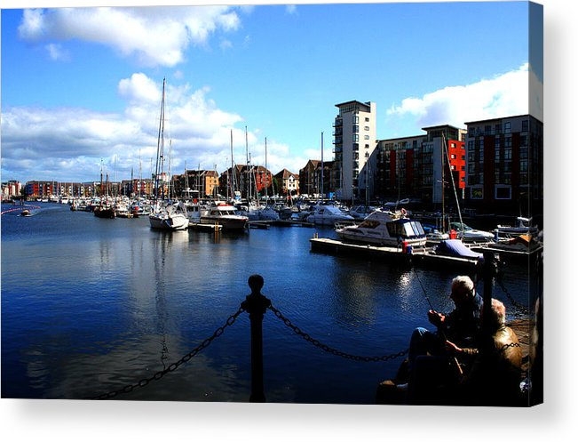 Harbour Acrylic Print featuring the photograph Harbour Fishermen by Stephanie Andrews