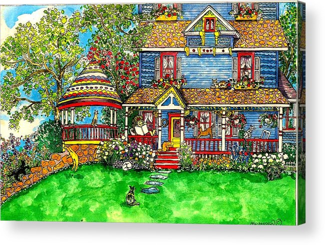 Victorian House Acrylic Print featuring the mixed media House Of Cats by Patty Fleckenstein