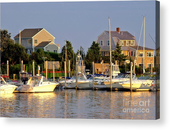 Hyannis Marina Acrylic Print featuring the photograph Hyannis Harbor At Sunset by Matt Suess