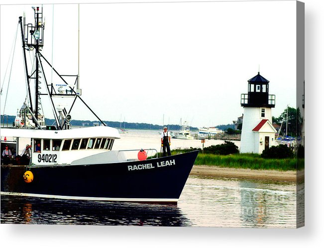 Hyannis Lighthouse Acrylic Print featuring the photograph Hyannis Lighthouse And Fishing Boat by Matt Suess
