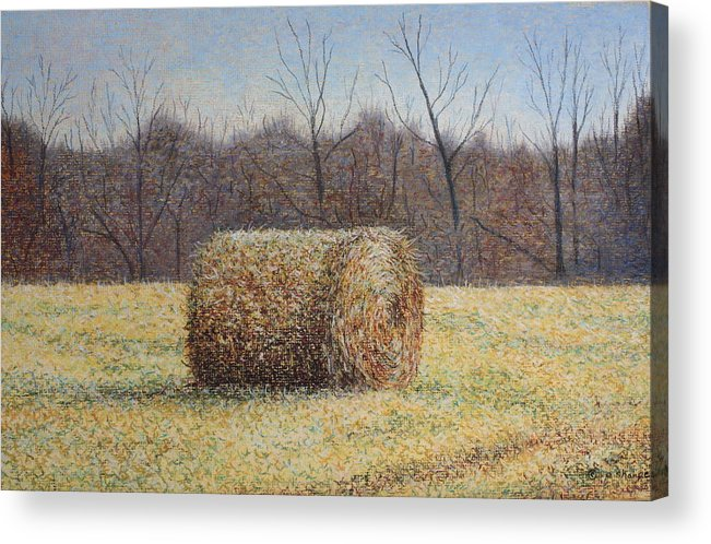 Haybale Acrylic Print featuring the painting Lone Haybale by Patsy Sharpe