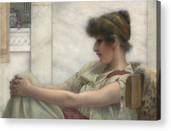Reverie Acrylic Print featuring the painting Reverie by John William Godward