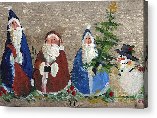Christmas Acrylic Print featuring the painting Santa Collector by Sylvia Pimental