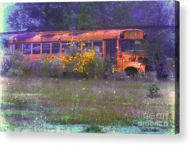 School Acrylic Print featuring the photograph School Bus Out To Pasture by Judi Bagwell