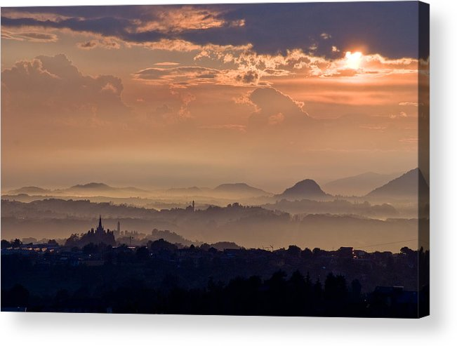 Sun Rain Storm Cloud Vapor Landscape Italy Hills Fog Wide Panorama Acrylic Print featuring the photograph The End Of The Storm by Marco Busoni