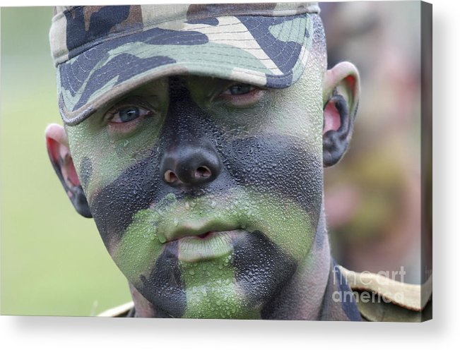 Beads Acrylic Print featuring the photograph U.s. Army Soldier Wearing Camouflage by Stocktrek Images