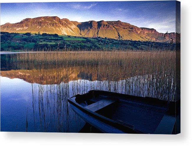 Reflection Acrylic Print featuring the photograph Water Reflections With Boat by Gareth McCormack