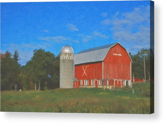 Red Barn Landscape Wisconsin Acrylic Print featuring the painting West Salem by Roger Bee