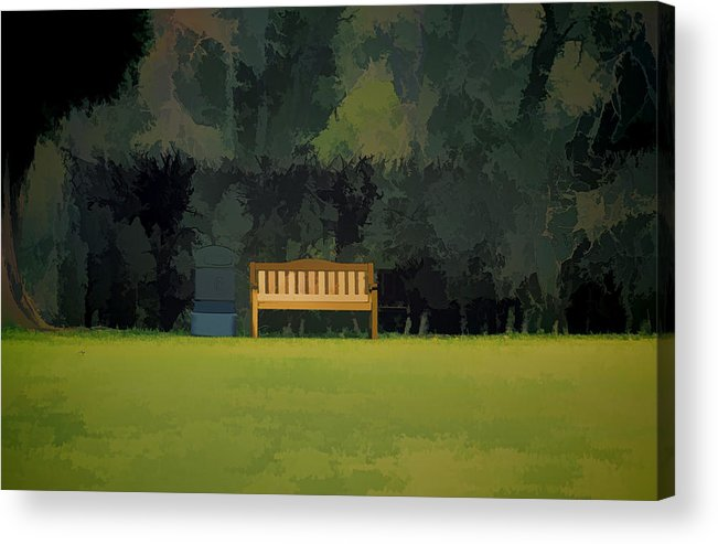 Bench Acrylic Print featuring the photograph A Trash Can And Wooden Benches In A Small Grassy Area by Ashish Agarwal