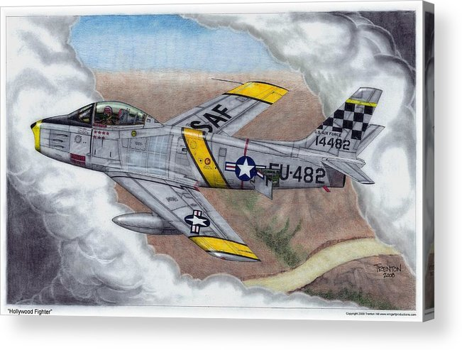 Aviation Acrylic Print featuring the drawing Hollywood Fighter by Trenton Hill