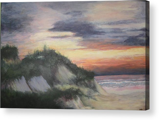 Seascape Acrylic Print featuring the painting The Cliffs by Sheryl Sutherland