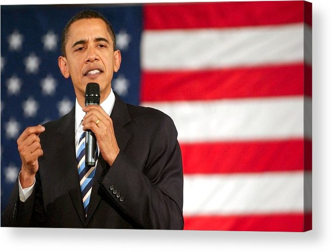 Barack Obama Presidential Campaign Rally Acrylic Print featuring the photograph Barack Obama On Stage For Barack Obama by Everett