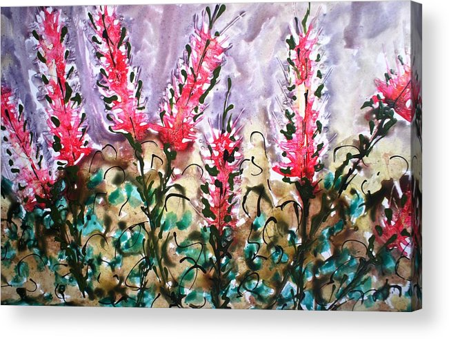 Flowers Acrylic Print featuring the painting Divine Blooms by Baljit Chadha