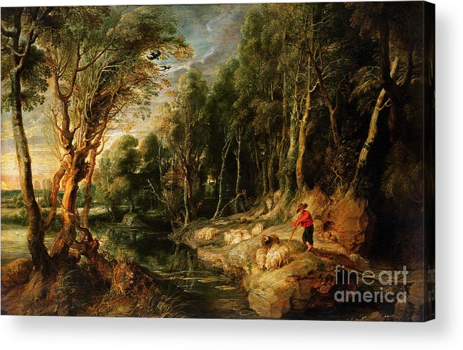 Shepherd Acrylic Print featuring the painting A Shepherd With His Flock In A Woody Landscape by Rubens