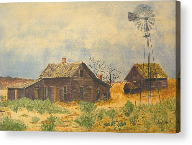 Farm Acrylic Print featuring the painting Abandoned Farm by Ally Benbrook