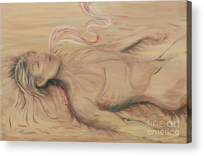 Adam Acrylic Print featuring the painting Adam And The Breath Of God by Nadine Rippelmeyer