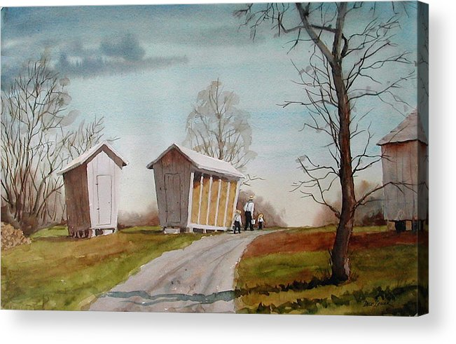 Farm Acrylic Print featuring the painting Amish Corncribs by Faye Ziegler