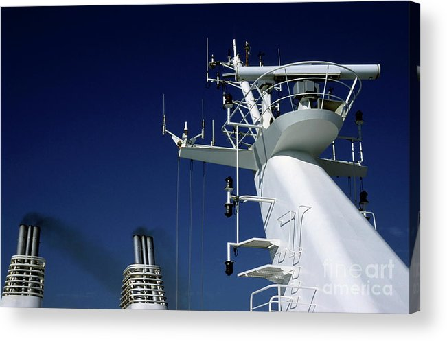 Aerial Acrylic Print featuring the photograph Antennas And Chimneys On A Large Ferry by Sami Sarkis