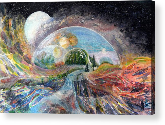 Fantasy Acrylic Print featuring the painting Avatron by Carole Overall