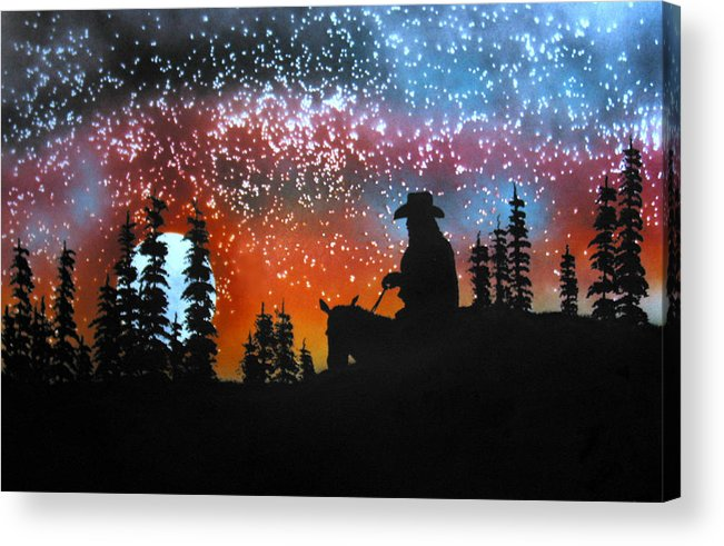 Silouette Acrylic Print featuring the painting Back To The Ranch by Ed Moore