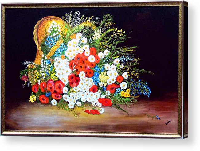 Summer Acrylic Print featuring the painting Basket With Summer Flowers by Helmut Rottler