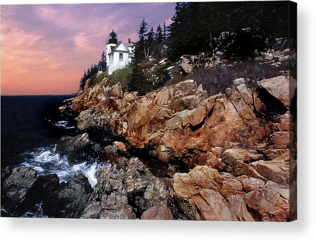 Lighthouses Acrylic Print featuring the photograph Bass Harbor Head Lighthouse In Maine by Skip Willits