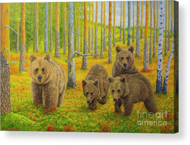 Animal Acrylic Print featuring the painting Bear Family by Veikko Suikkanen