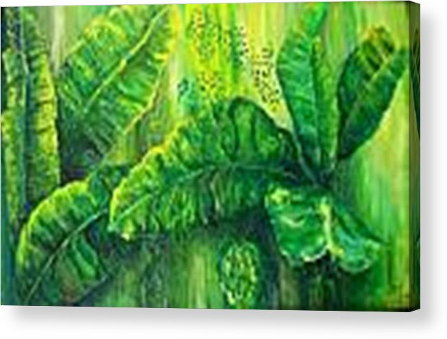 Acrylic Print featuring the painting Beautiful Banana Leaves by Carol P Kingsley