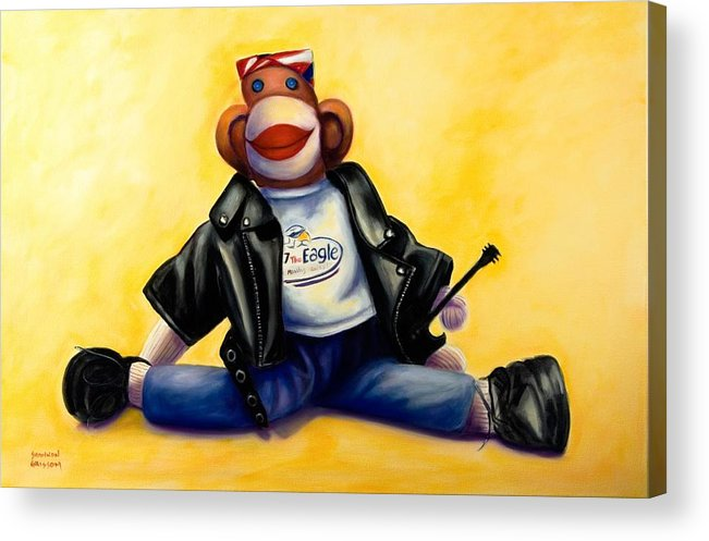 Sock Monkey Brown Acrylic Print featuring the painting Biker Dude Made Of Sockies by Shannon Grissom