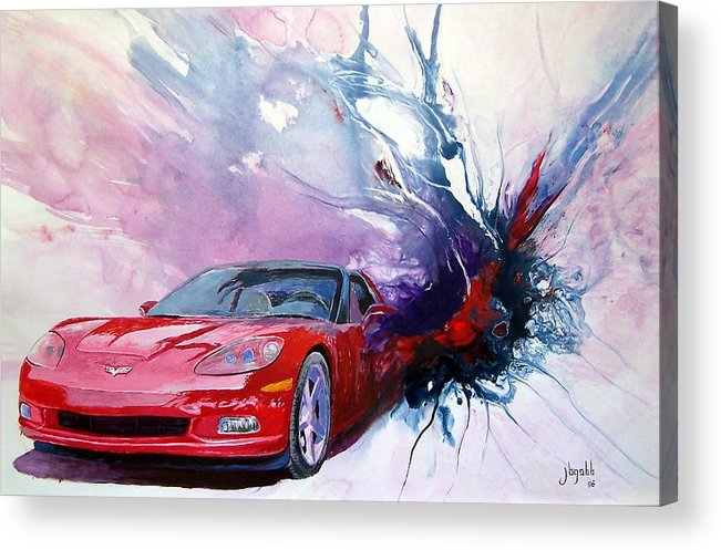 Red Corvette; C6; Acrylic Print featuring the painting Birth Of A Corvette by John Gabb