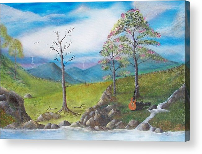 Landscape Acrylic Print featuring the painting Blue River by Tony Rodriguez