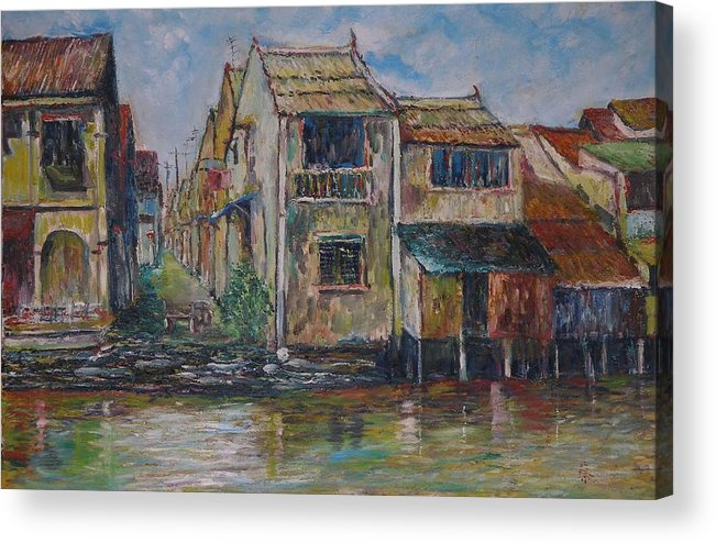 Landscape Acrylic Print featuring the painting Boat Ride Along The Malacca River by Wendy Chua