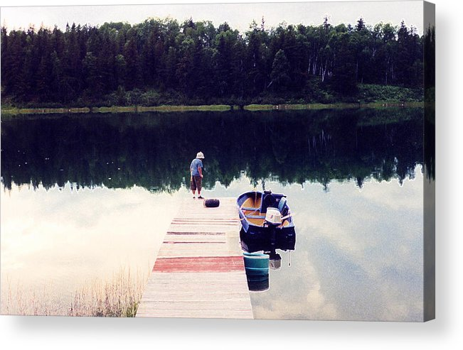 Lake Acrylic Print featuring the photograph Boy On The Dock Ae by Lyle Crump