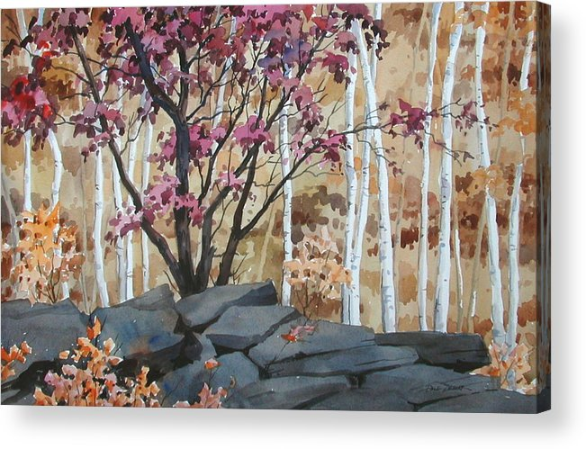 Fall Acrylic Print featuring the painting Burgundy On The Rocks by Faye Ziegler