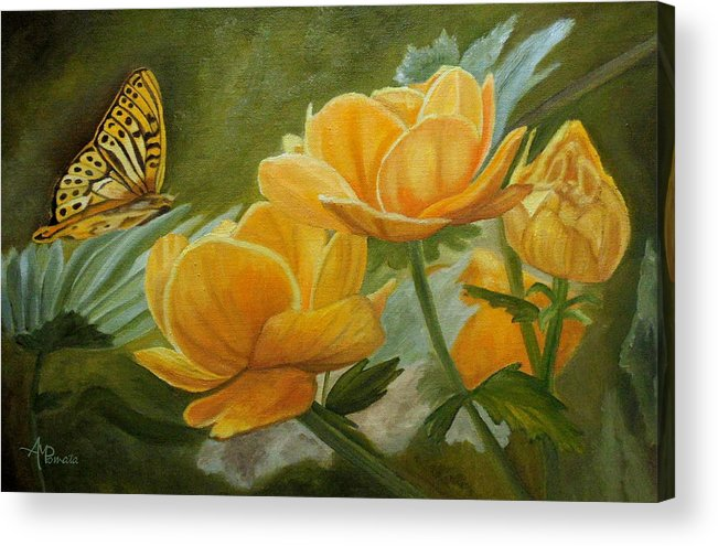 Butterfly Acrylic Print featuring the painting Butterfly Among Yellow Flowers by Angeles M Pomata