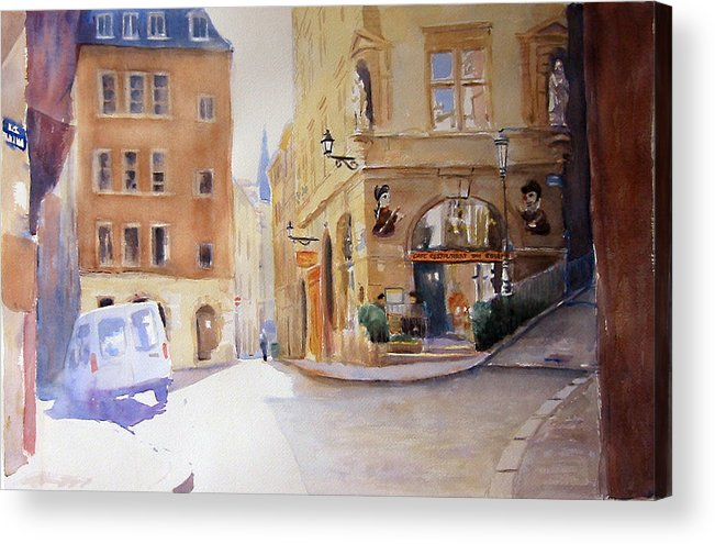 Lyon Acrylic Print featuring the painting Cafe Soleil by Joel Tenzin