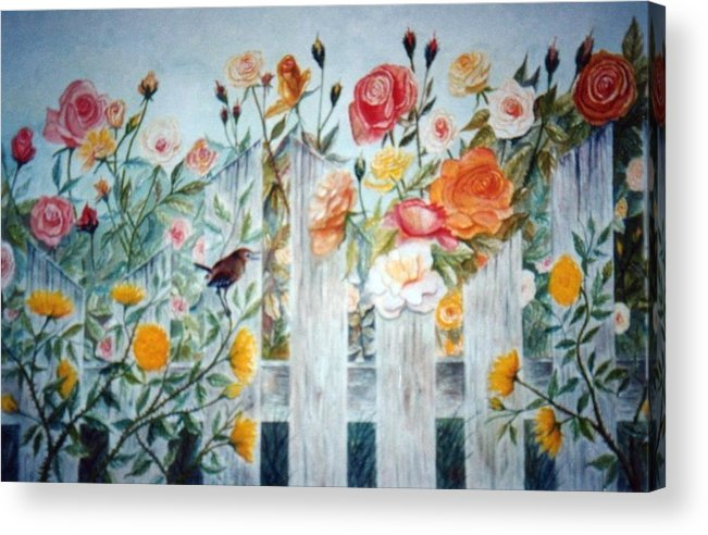 Roses; Flowers; Sc Wren Acrylic Print featuring the painting Carolina Wren And Roses by Ben Kiger