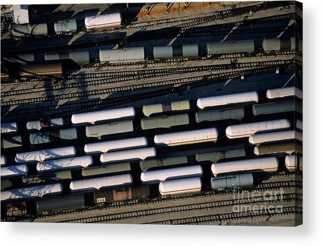 Cargo Acrylic Print featuring the photograph Carriages Of Freight Trains On A Commercial Railway by Sami Sarkis