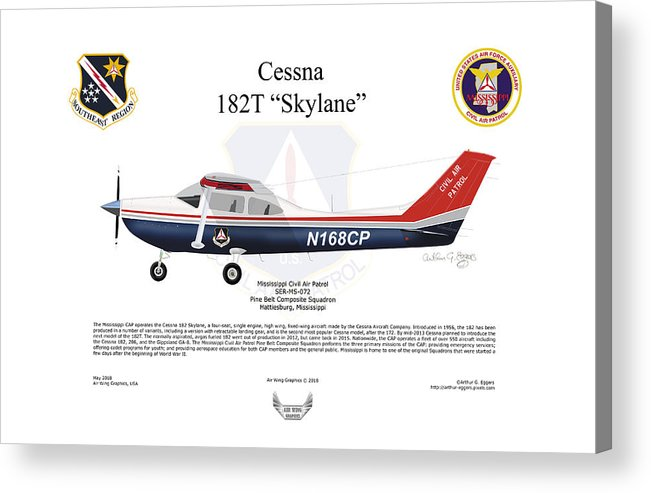 Cessna Acrylic Print featuring the digital art Cessna 182t Skylane by Arthur Eggers