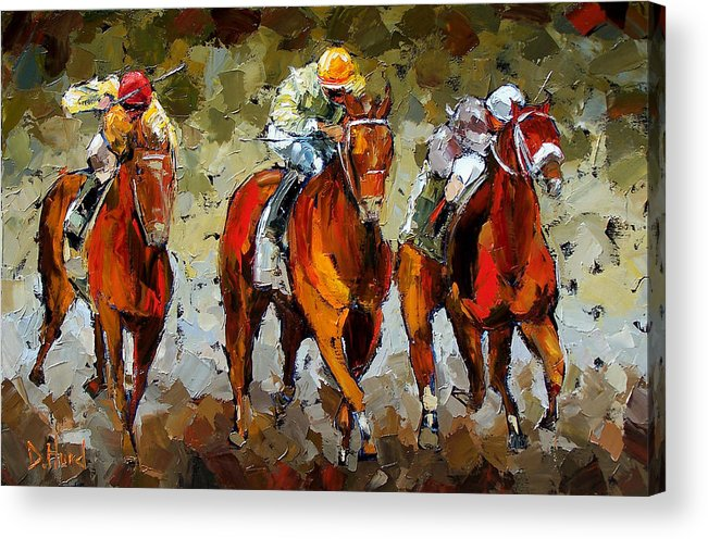 Horses Acrylic Print featuring the painting Close Race by Debra Hurd