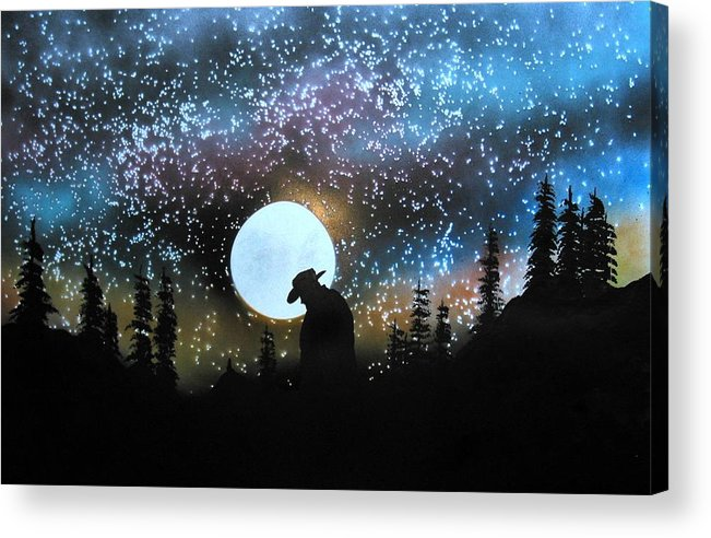 Silouette Cowboy Horse Landscape Moon Stars Night Acrylic Print featuring the painting Coming Home by Ed Moore