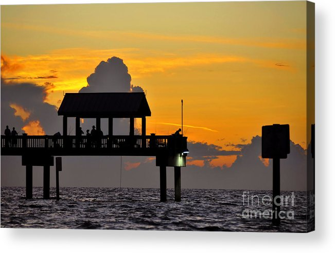 Gulf Of Mexico Acrylic Print featuring the photograph Dusk Over The Gulf by David Lee Thompson