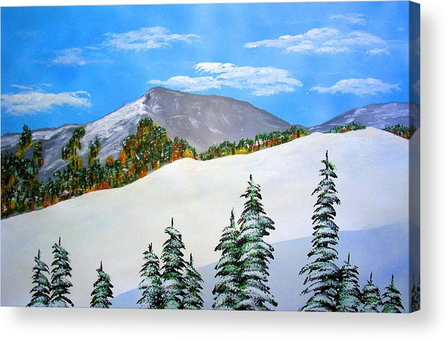 Snow Sierra Mountains Ridgeline Early Trees Fall Nature Acrylic Print featuring the painting Early Sierra Snow At Ridgeline by Ed Moore