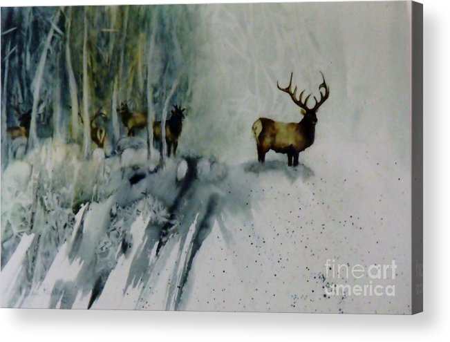 Herd Of Elk In The Trees Acrylic Print featuring the painting Elk With In by Lynne Parker