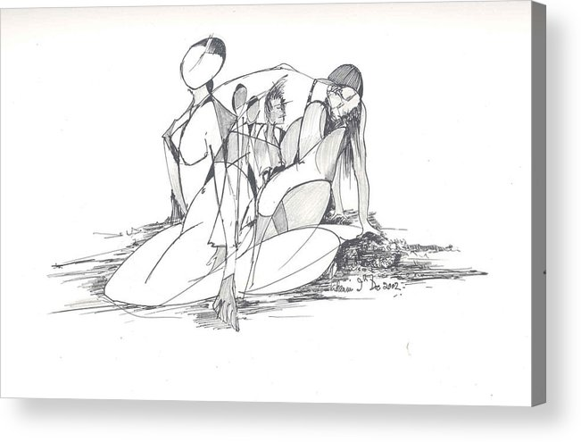 Women Acrylic Print featuring the drawing Entangled Women by Padamvir Singh