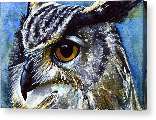 Owls Acrylic Print featuring the painting Eyes Of Owls No.25 by John D Benson