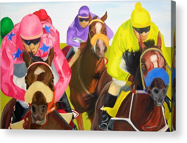 Horse Racing Acrylic Print featuring the painting Finish Line by Michael Lee