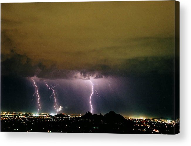Lightning Acrylic Print featuring the photograph Fireworks 1 by Cathy Franklin