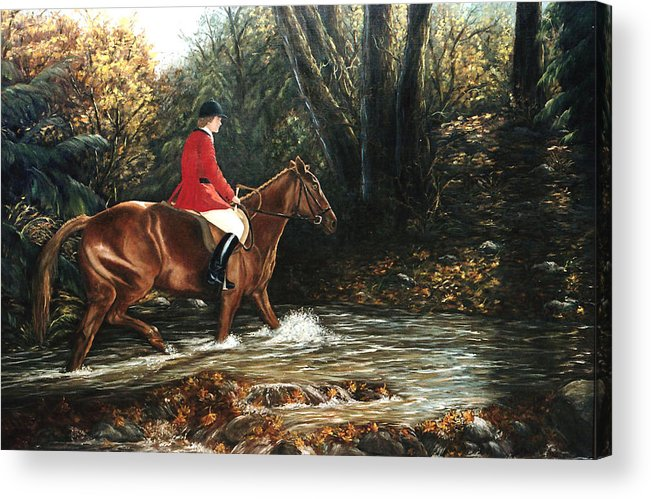 Horse Acrylic Print featuring the painting Fox Hunt by Grace Nikander